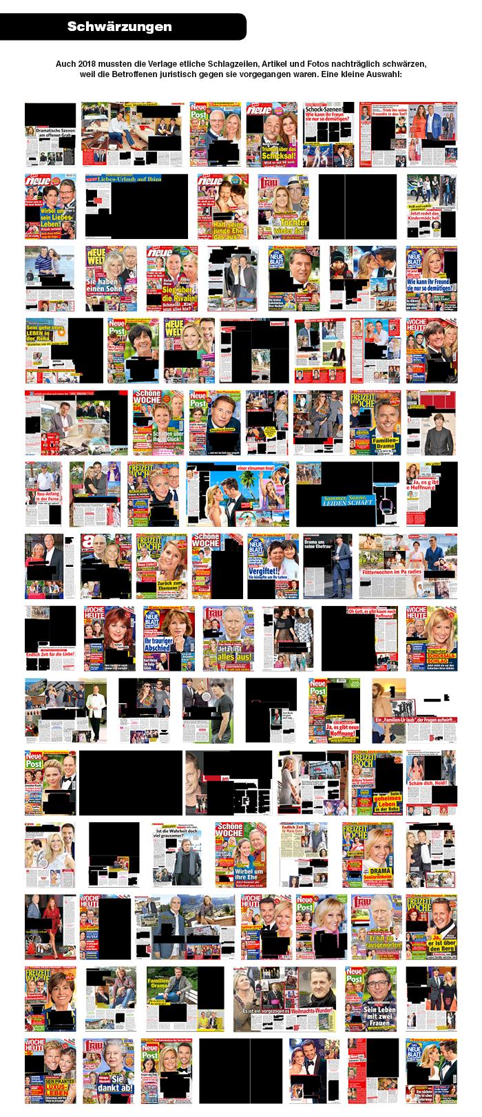 Schwärzungen: Auch 2018 mussten die Verlage etliche Schlagzeilen, Artikel und Fotos nachträglich schwärzen, weil die Betroffenen juristisch gegen sie vorgegangen waren. Eine kleine Auswahl: [Eine Collage mit 100 Titelseiten und Artikeln, die ganz oder teilweise geschwärzt sind.]